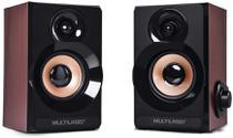 Caixa De Som Multilaser SP261 2.0 6W Rms Acabamento Madeira -