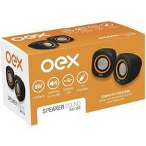 Caixa de Som para PC OEX Round SK100 Preto e Laranja -