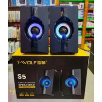 Caixa De Som PC Gaming com LED Colorido S5 - T-wolf