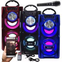 Caixa De Som Portátil Bluetooth Amplificada Microfone 867 Vermelha - Infokit
