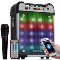 Caixa de Som Portátil Bluetooth Amplificada Microfone - Briwax