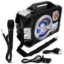 Caixa de Som Portátil Bluetooth Lenoxx Music Wave CA-303 MP3 USB SD AUX MIC FM Gravação Karaokê -