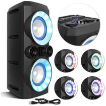 Caixa de Som Portátil Bluetooth Multilaser SP379 300W com LED Mini Torre Neon X USB Auxiliar SD FM -