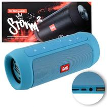 Caixa de Som Portátil Bluetooth Wireless USB Micro SD Auxiliar P2 Rádio FM 15W Storm 2 Azul Shutt -