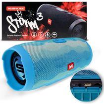 Caixa de Som Portátil Bluetooth Wireless USB Micro SD Auxiliar P2 Rádio FM 20W Storm 3 Azul Shutt -