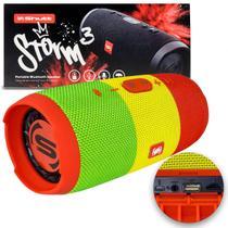 Caixa de Som Portátil Bluetooth Wireless USB Micro SD Auxiliar P2 Rádio FM 20W Storm 3 Jamaica Shutt -