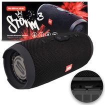 Caixa de Som Portátil Bluetooth Wireless USB Micro SD Auxiliar P2 Rádio FM 20W Storm 3 Preto Shutt -