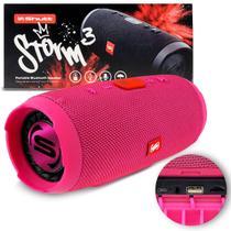 Caixa de Som Portátil Bluetooth Wireless USB Micro SD Auxiliar P2 Rádio FM 20W Storm 3 Rosa Shutt -