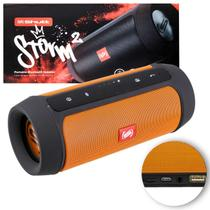 Caixa de Som Portátil Bluetooth Wireless USB Micro SD P2 Rádio FM 15W Storm 2 Laranja e Preto Shutt -