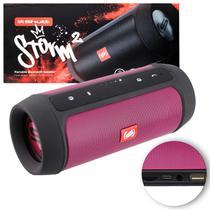 Caixa de Som Portátil Bluetooth Wireless USB Micro SD P2 Rádio FM 15W Storm 2 Rosa e Preto Shutt -