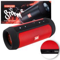 Caixa de Som Portátil Bluetooth Wireless USB Micro SD P2 Rádio FM 15W Storm 2 Vermelho e Preto Shutt -