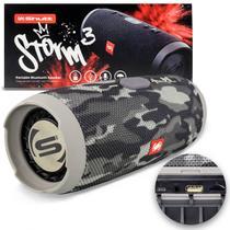 Caixa de Som Portátil Bluetooth Wireless USB SD Aux P2 Rádio FM 20W Storm 3 Cinza Camuflada Shutt -