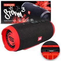 Caixa de Som Portátil Bluetooth Wireless USB SD Aux P2 Rádio FM 20W Storm 3 Preto e Vermelho Shutt -