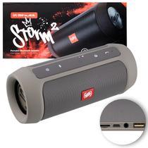 Caixa de Som Portátil Bluetooth Wireless USB SD Auxiliar P2 Rádio FM 15W Storm 2 Grafite Shutt -