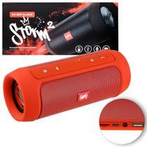 Caixa de Som Portátil Bluetooth Wireless USB SD Auxiliar P2 Rádio FM 15W Storm 2 Vermelho Shutt -