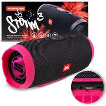 Caixa de Som Portátil Bluetooth Wireless USB SD Auxiliar P2 Rádio FM 20W Storm 3 Preto e Rosa Shutt -