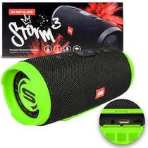 Caixa de Som Portátil Bluetooth Wireless USB SD Auxiliar P2 Rádio FM 20W Storm 3 Preto e Verde Shutt -