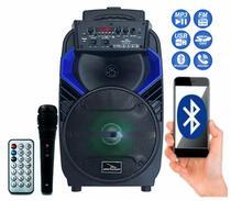 Caixa De Som Portátil Grasep Bluetooth Usb Sd C/ Microfone Bateria Rodinha -