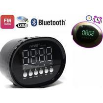 Caixa de som radio bluetooth led usb sd mp3 fm relogio despertador digital - Makeda