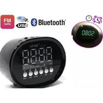 Caixa de som radio relogio despertador digital bluetooth led usb sd mp3 fm - Makeda