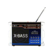 Caixa De Som Retrô Portátil Com Entrada USB e Lanterna - Azul - RAD-8142 - Inova -