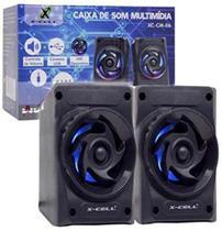 Caixa de Som X-Cell Para PC/Notebook P2 USB C/ Led Decorativo e Controle Vol. Preto - XC-CM-06 -