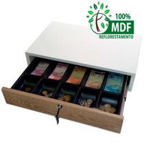 caixa gaveta branca e madeirada para dinheiro com tranca e corrediças metálicas - Balcões.Tk