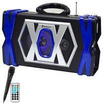 """Caixa Karaokê MegaSound CX-056 5"""" 2500W PMPO com Bluetooth/USB + 1 Microfone - Preto/Azul -"""