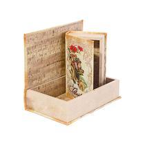Caixa Livro com 2 Peças Christmas Rosas - Goods br