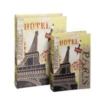 Caixa Livro com 2 Peças Eiffel Hotel de Seda - Goods br