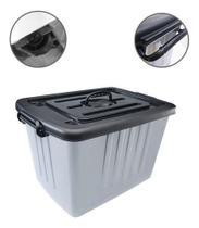 Caixa Organizador / Container De Plastico Cinza Com Tampa Pr - Oem - Plasnew