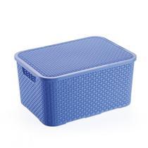 Caixa Organizadora 15 litros Azul Acessórios Brinquedos Roupas modelo Rattan com Tampa - Barbosa
