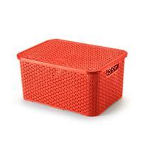 Caixa organizadora com tampa mosaico 16L vermelho Arthi -