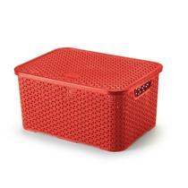 Caixa Organizadora com Tampa Vermelha 16 litros 32 cm - Arthi