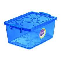 Caixa Organizadora Com Trava 15 L Azul Ordene -