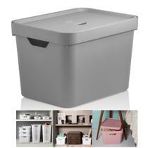 Caixa Organizadora Cube 18l Cesto Com Tampa Closet Roupa Grande - CC450 Ou -