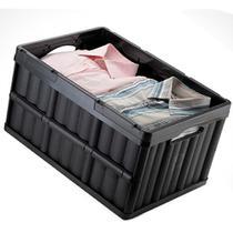Caixa Organizadora Dobrável Plástica Multiuso Empilhável para Compras Mercado Arthi 1597 Cor Preta -