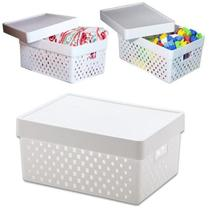 Caixa organizadora empilhavel branca rattan 16 litros organizador brinquedos roupas cozinha - PARAMOUNT
