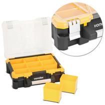 Caixa Organizadora Plástica Vonder OPV0500 9 Gavetas Preto e Amarelo Tampas Transparentes -