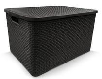 Caixa Organizadora Rattan PRETA 40 Litros COD 25603 Arqplast -