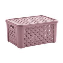 Caixa organizadora rattan rose container multiuso grande organizador para brinquedos roupas objetos com tampa e alca - PARAMOUNT