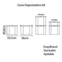Caixa Organizadora Tramontina Basic com Tampa em Plastico Cinza 42 L -
