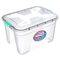 Caixa Organizadora Transparente 20 Litros c/ Travas Coloridas PP Uninjet -