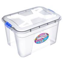 Caixa Organizadora Transparente 30 Litros c/ Travas Coloridas PP Uninjet -