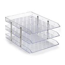 Caixa Organizadora tripla fixa de acrílico de mesa cristal - Waleu