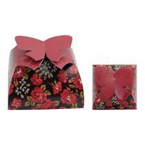 Caixa Para Bem Casado Valise Floral Vermelho C 12 Unidades 4a03bbdd223