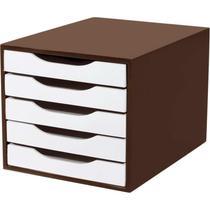 Caixa para Correspondência Madeira com 5 Gavetas Tabaco/Branco - Souza