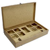 Caixa Para Gin e Especiarias de Madeira Crua MDF Tampa Lisa Tamanho: 34 x 18,5 x 6,8 cm - Mad. Art Leo