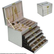 Caixa Para Joias Bijuteria 5 Gavetas Luxo Prata CBRN13067 - Commerce Brasil