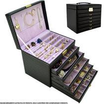 Caixa Para Joias Bijuteria 5 Gavetas Luxo Preto CBRN10714 - Commerce Brasil